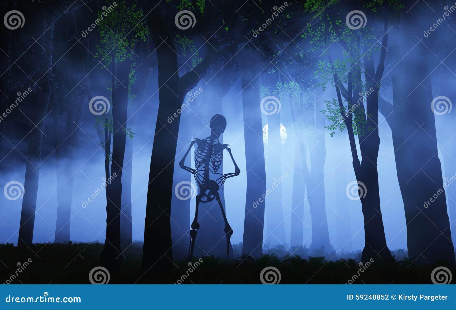 Fondo de 3D Halloween de un esqueleto en un bosque de niebla