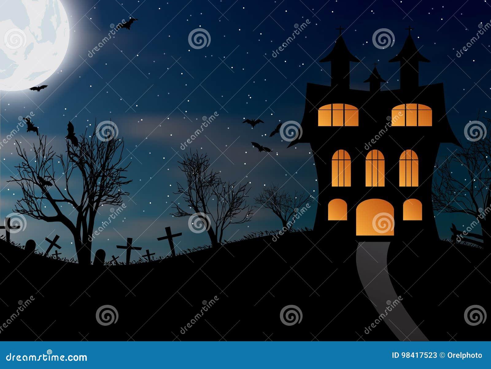 Fondo De Halloween Con El Castillo, Los Palos Y La Luna Grande ...