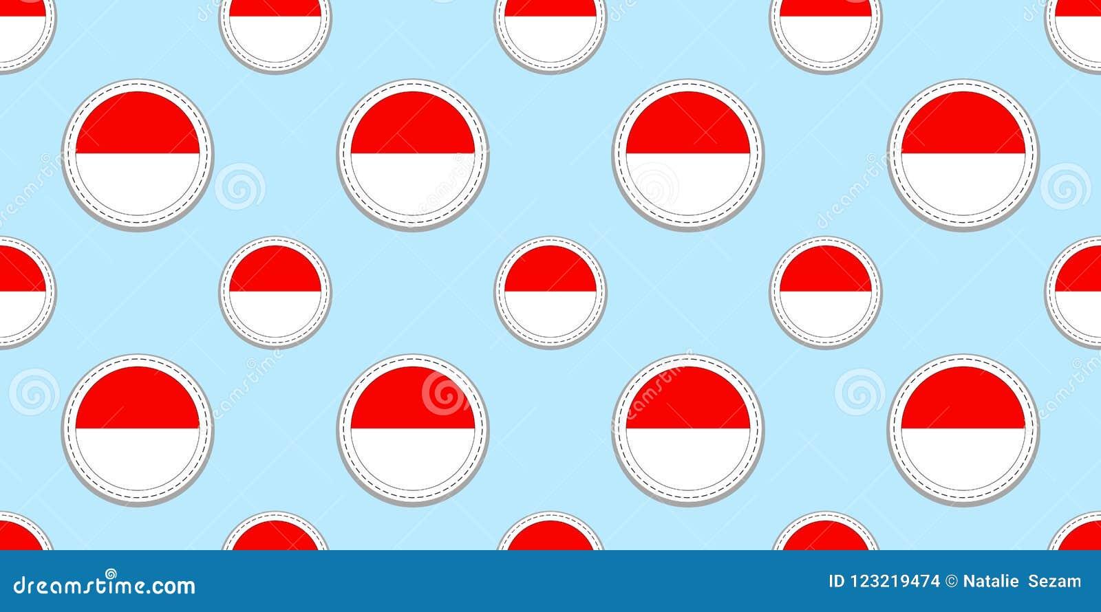 Fondo de Indonesia Modelo inconsútil de la bandera indonesia Escrituras de la etiqueta brillantes en blanco del vector Símbolos d
