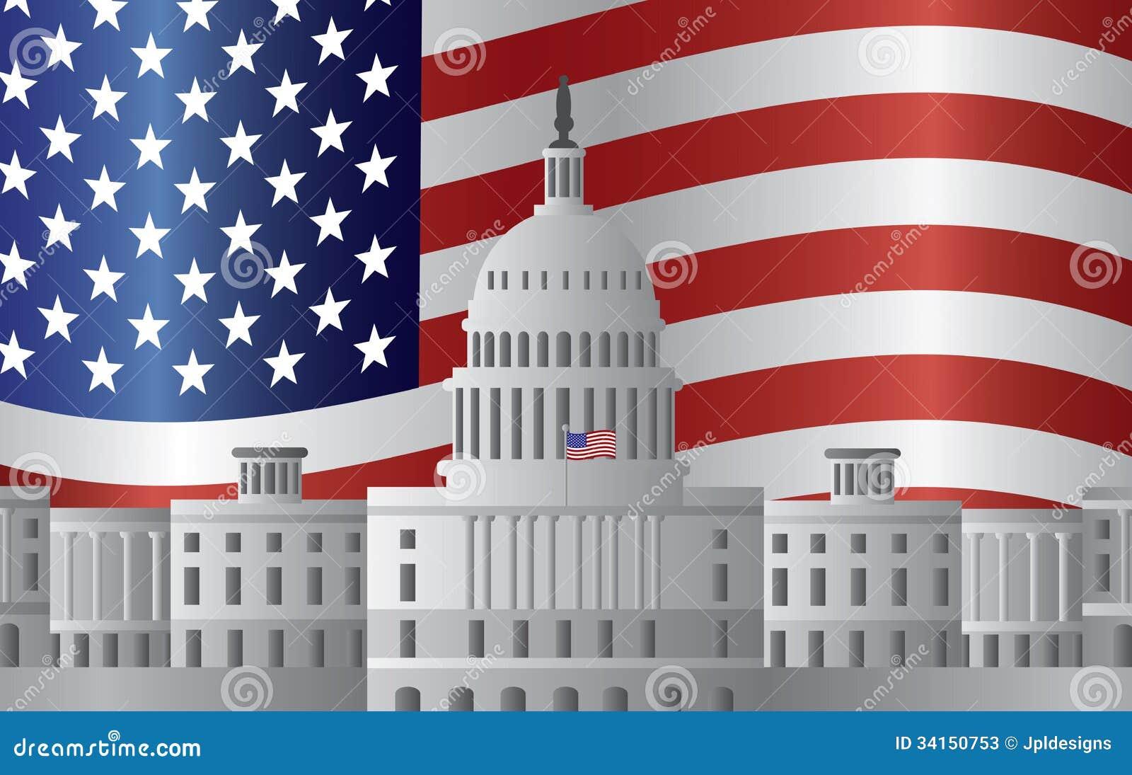 Fondo de la bandera de los E.E.U.U. del capitolio del Washington DC