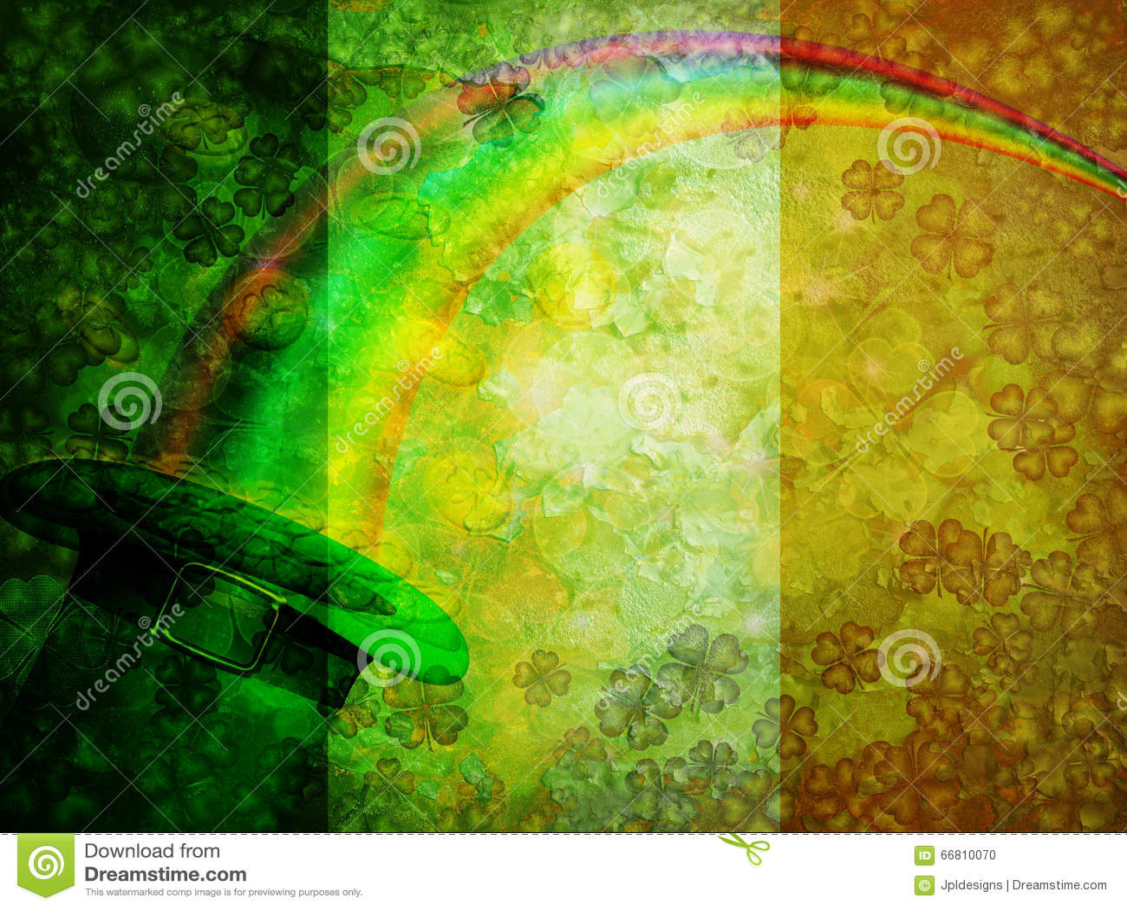 Arco iris de las monedas de oro del sombrero del duende del trébol del  trébol de la hoja del día cuatro del St Patricks con el fondo irlandés de  la bandera ... 16026d91eec7
