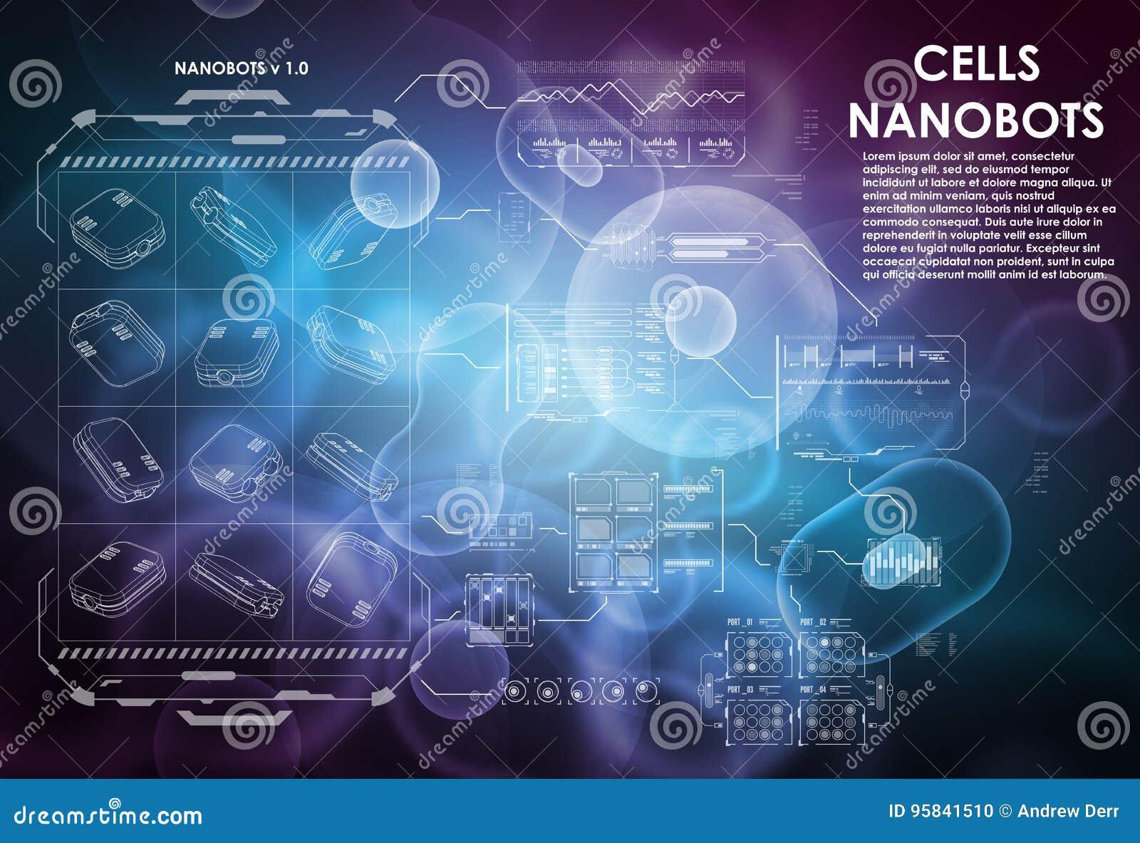 Fondo de la célula con los elementos futuristas del interfaz HUD UI para el app médico Interfaz de usuario futurista molecular