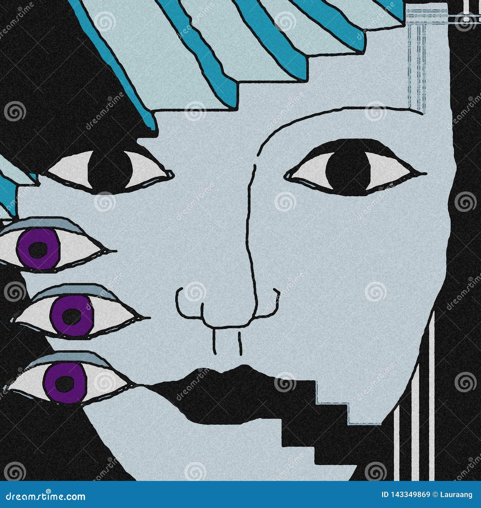 Fondo de la cara Los ojos violetas