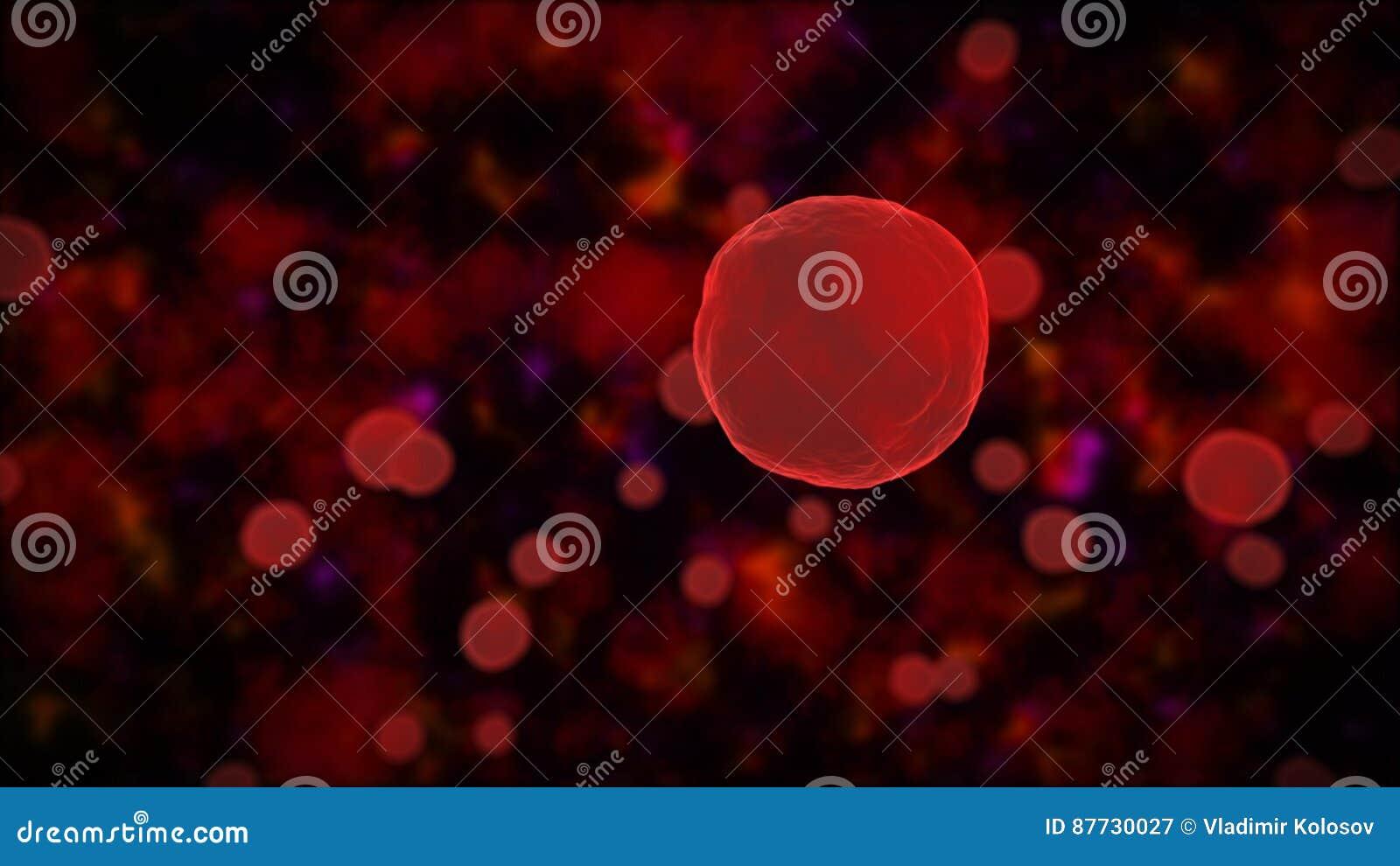 Fondo de la ciencia con los glóbulos abstractos rojos