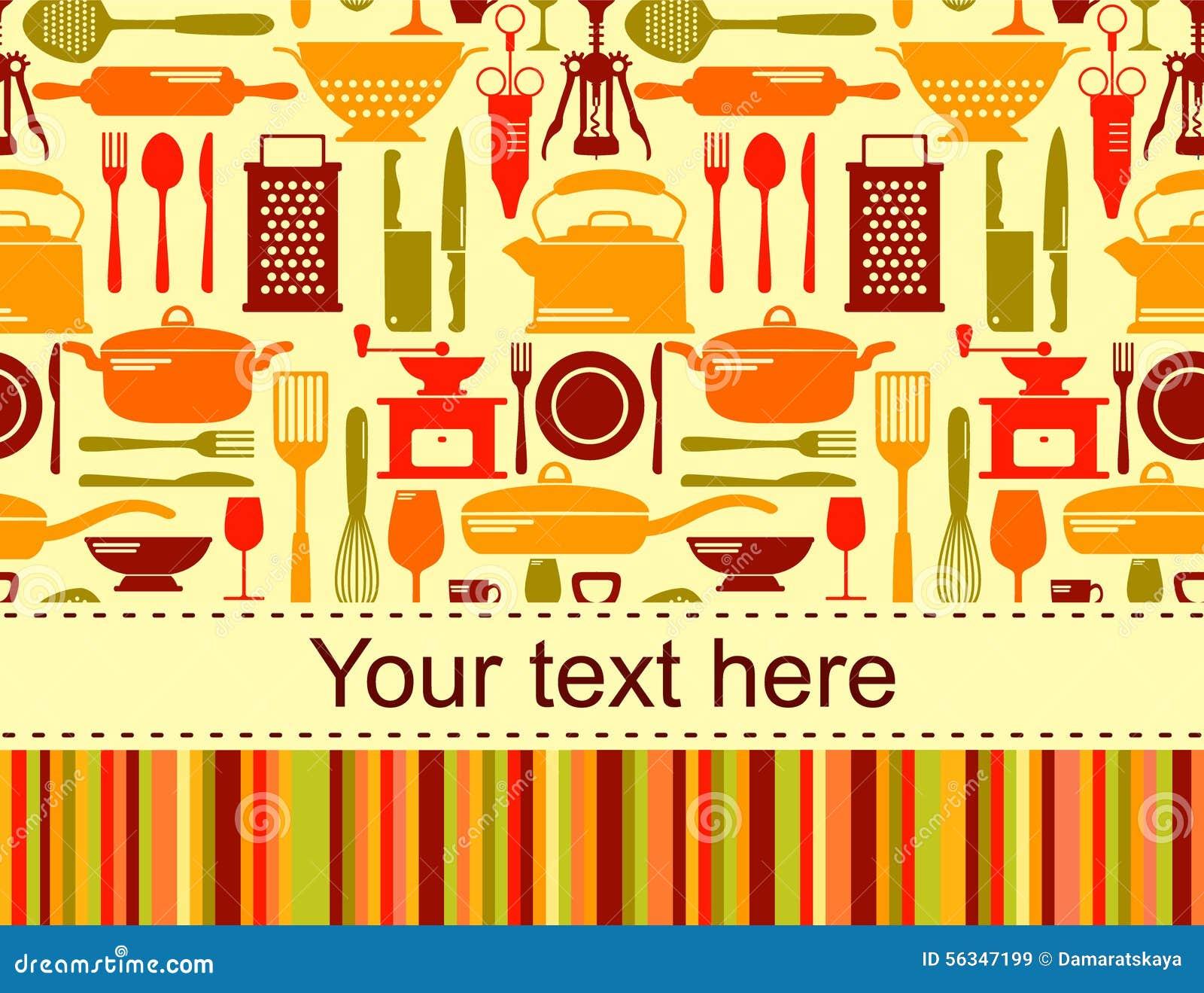 Fondo De La Cocina Con El Lugar Para El Texto Ilustraci N