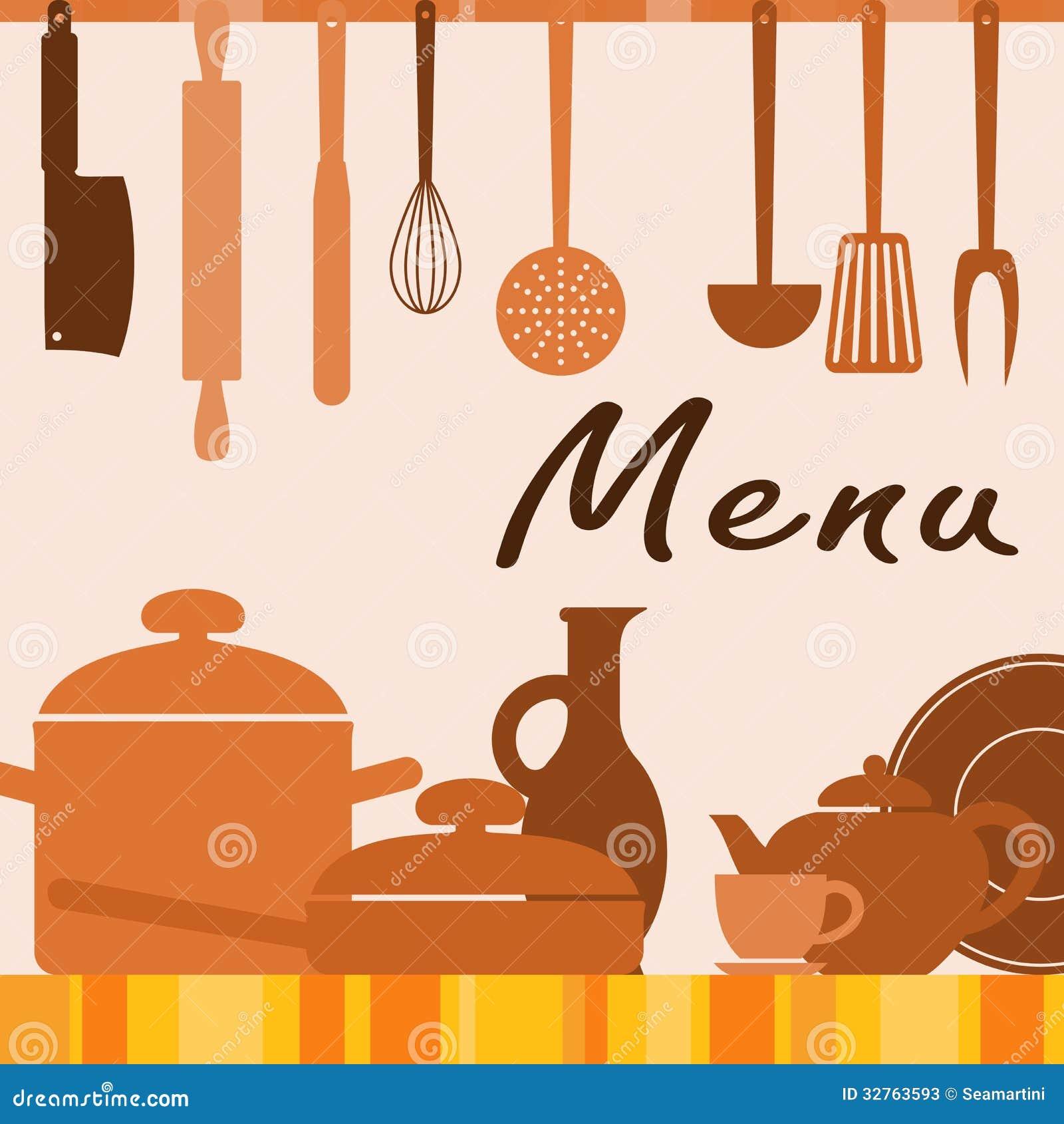 Fondo de la cocina para la cubierta del men ilustraci n for Artistic cuisine menu