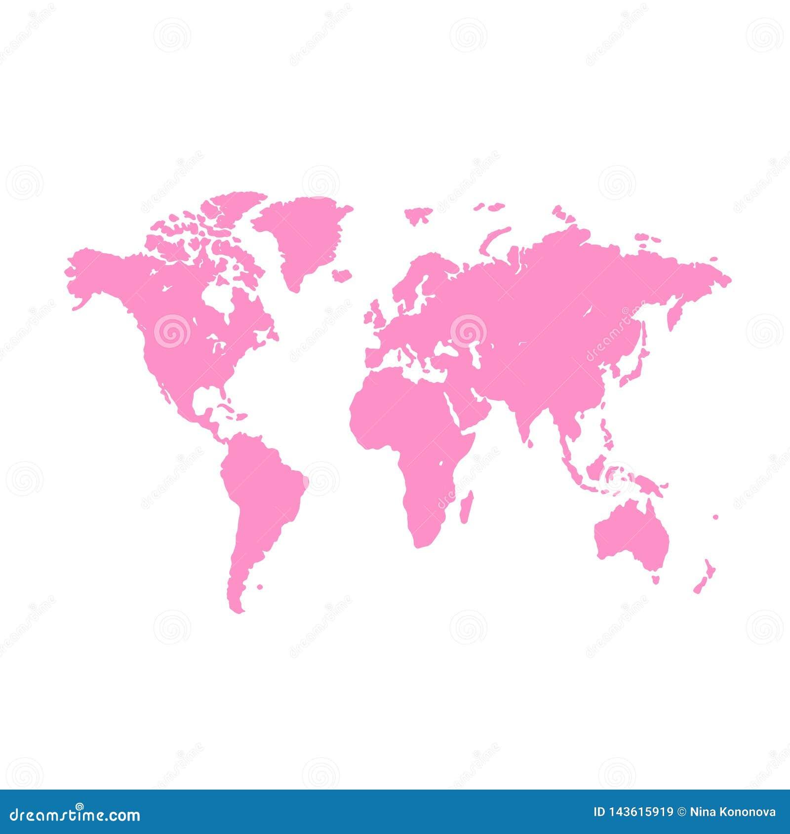 Fondo de la correspondencia de mundo Ejemplo del Grunge del mapa del mundo de las siluetas Mapa del mundo en blanco rosado del ve