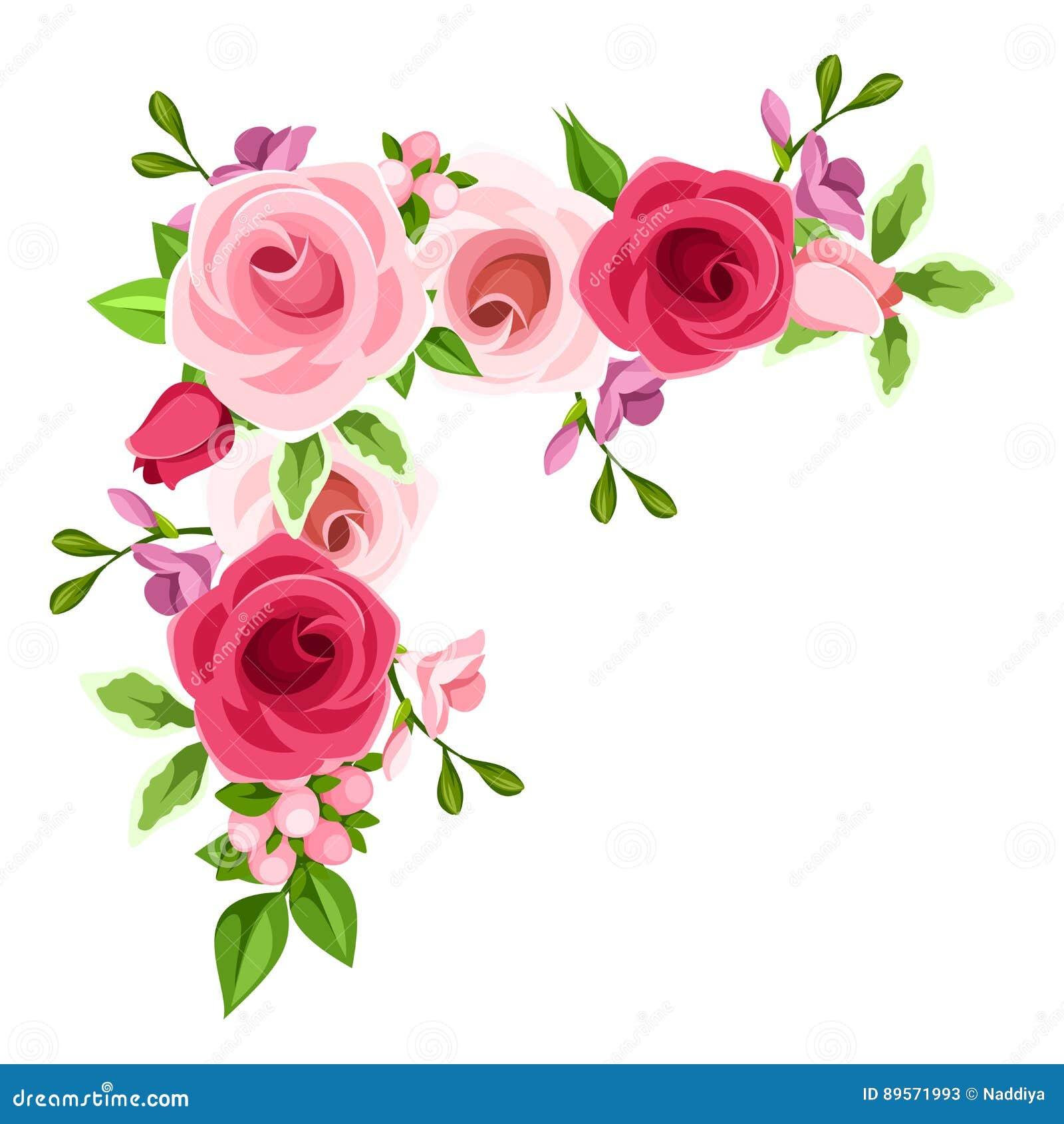Fondo De La Esquina Con Las Rosas Rojas Y Rosadas Ilustracion Del