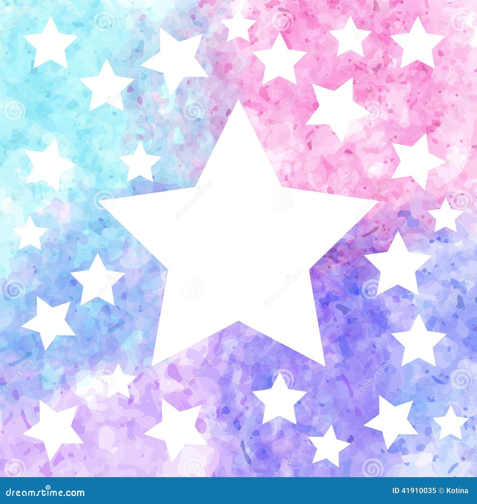 Fondo de la estrella en acuarela colorida