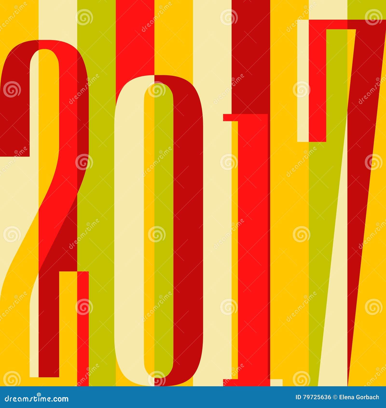 Fondo de la Feliz Año Nuevo del vector 2017 cubierta del calendario, ejemplo tipográfico del vector