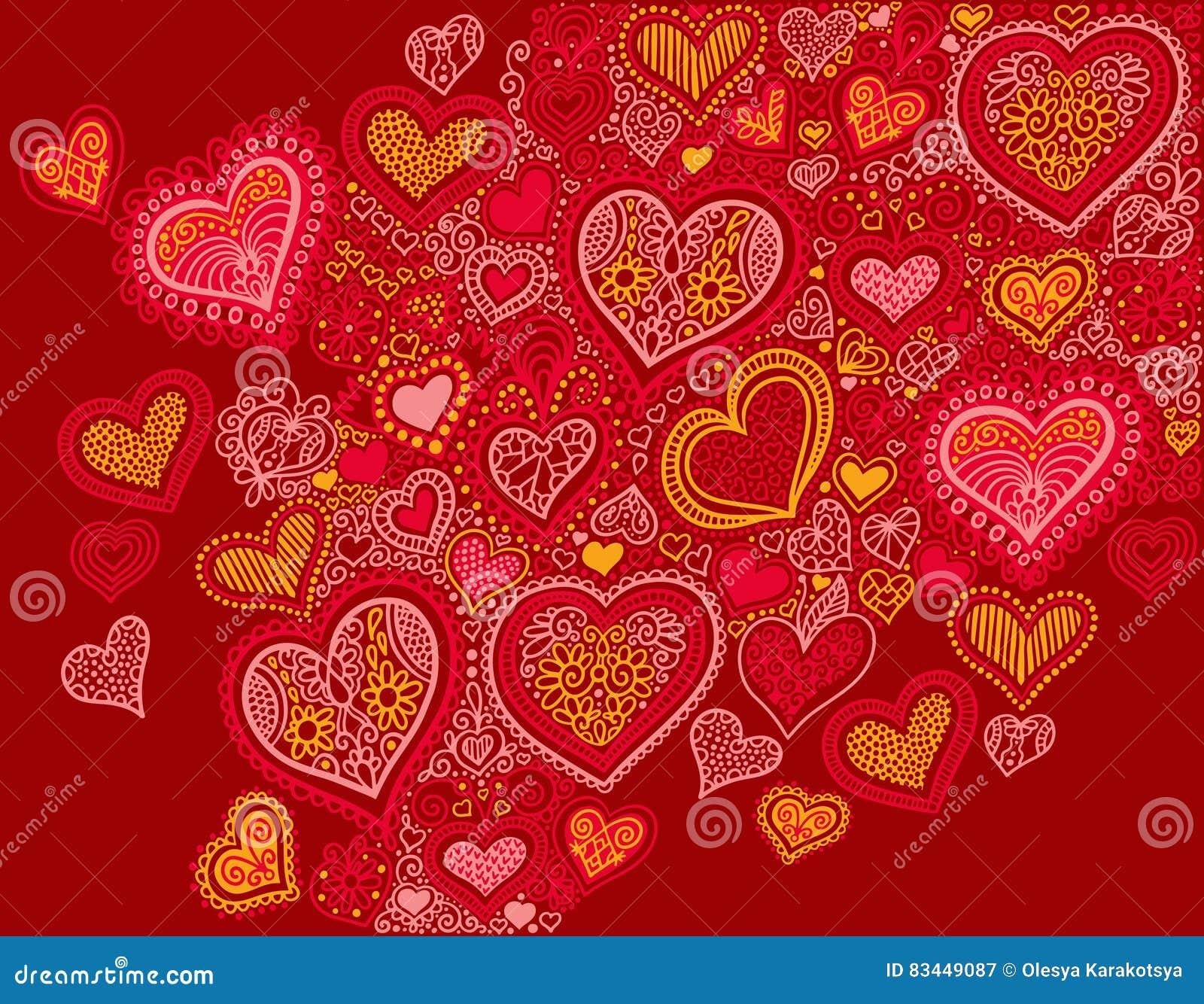 Fondo de la forma del corazón del dibujo en colores rojos al día de tarjetas del día de San Valentín