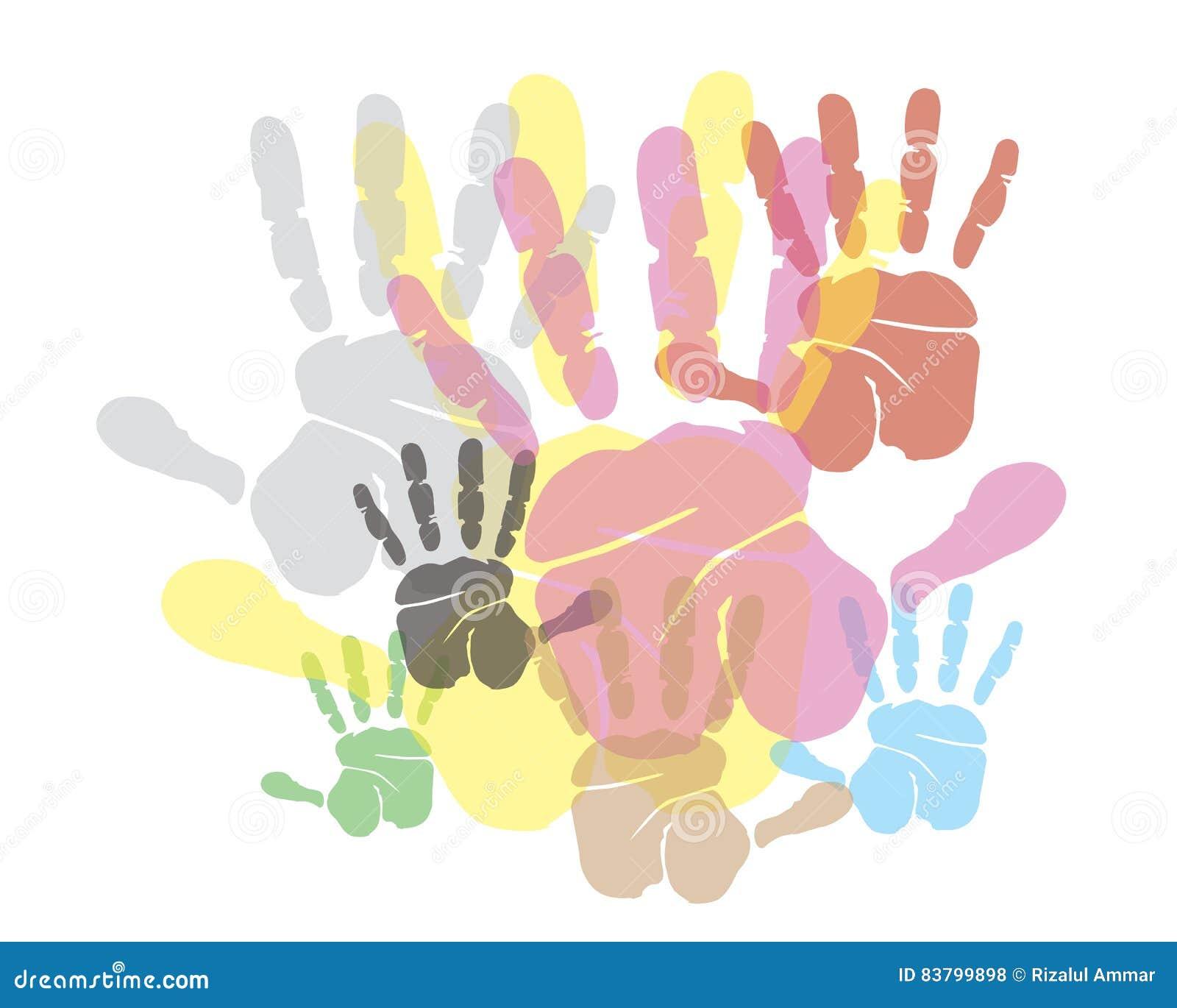Fondo de la impresión de las manos