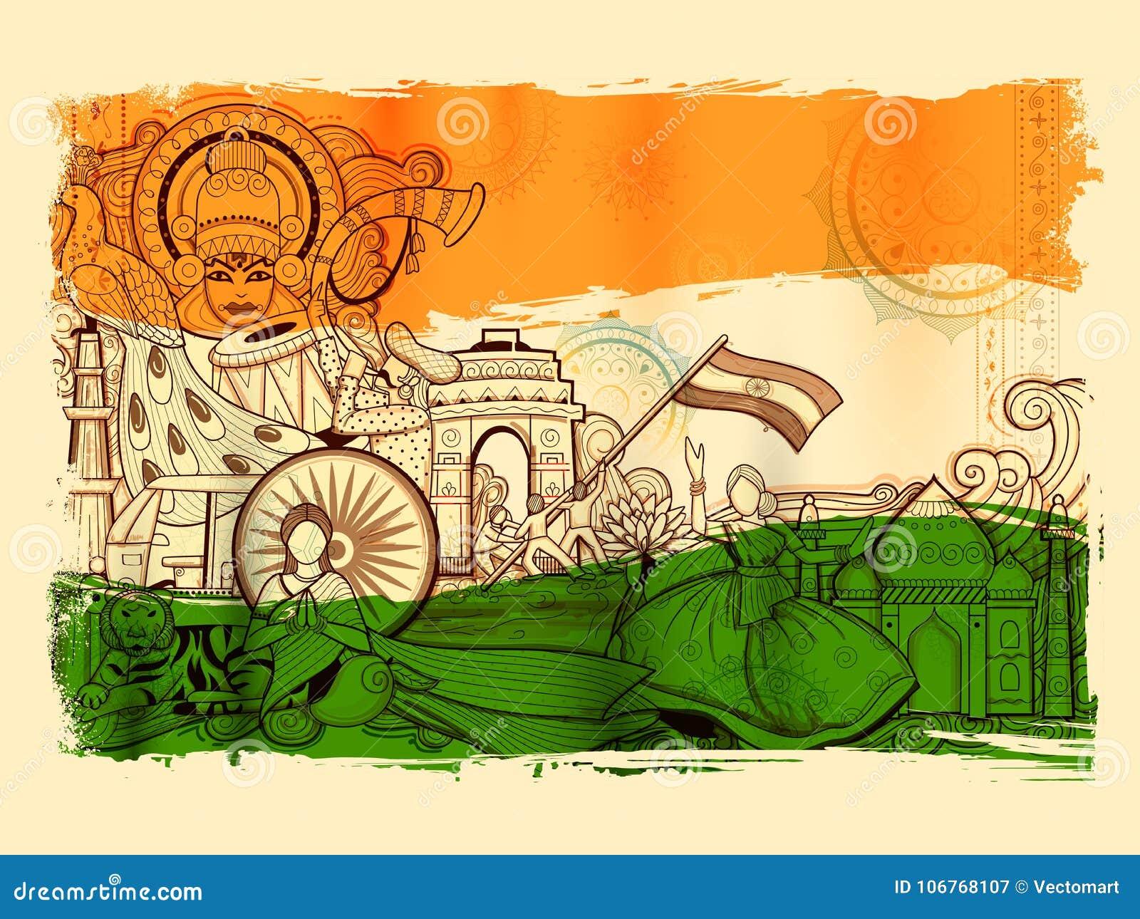 Fondo de la India que muestra su cultura y diversidad increíbles con el monumento, la danza y el festival