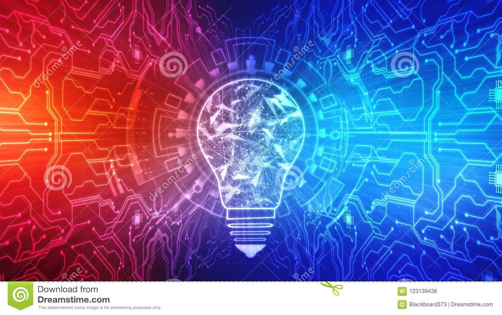 Fondo de la innovación, concepto creativo de la idea, fondo del concepto de la inteligencia artificial