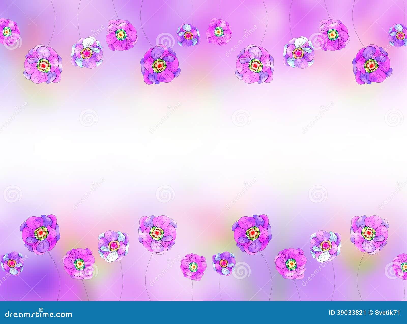 Flores Lilas Con Rosas Sobre Fondo: Fondo De La Lila Con Un Modelo De Flores Stock De