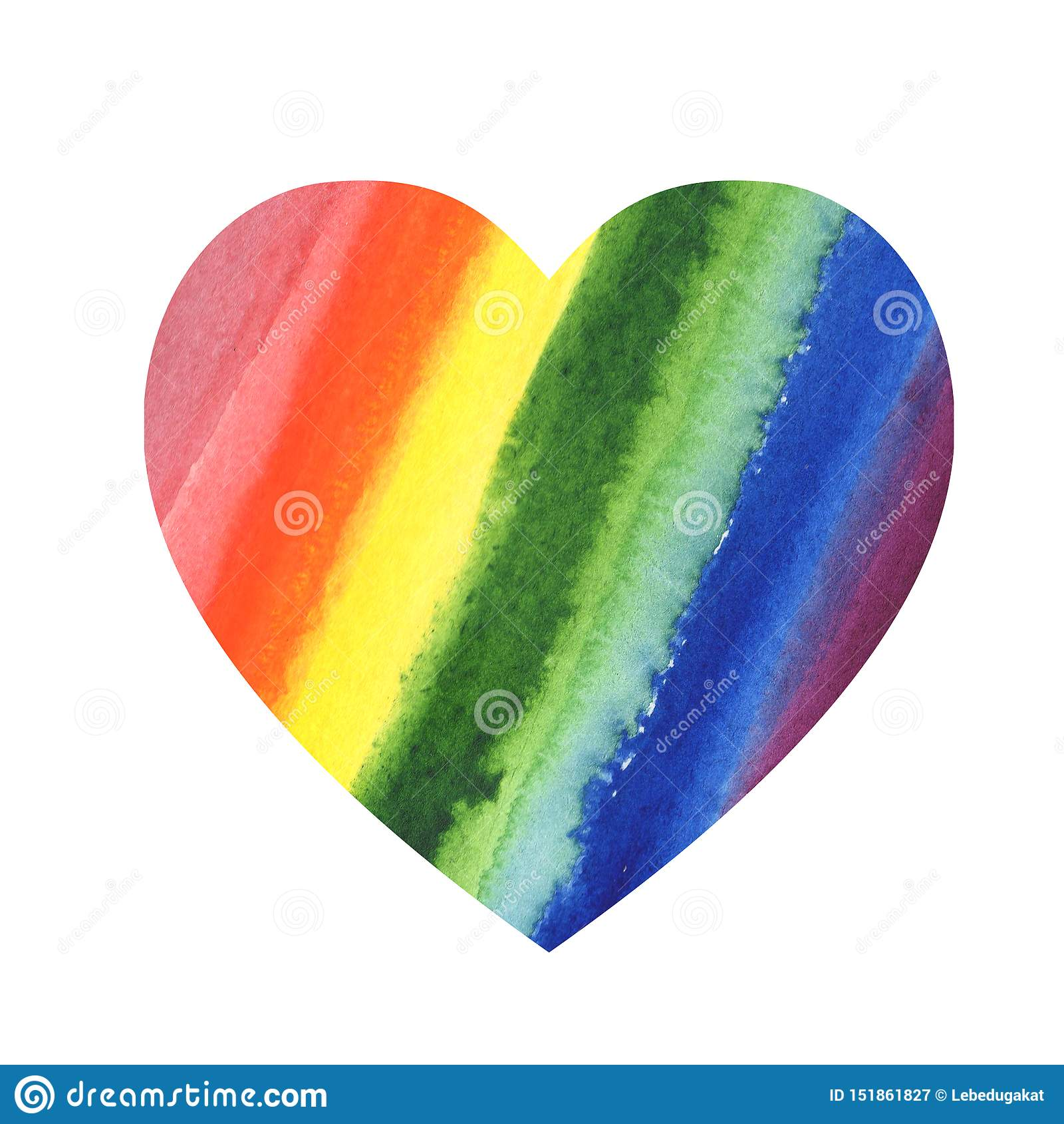 Fondo de la mancha blanca /negra del color del arco iris de la acuarela del corazón del extracto del ejemplo