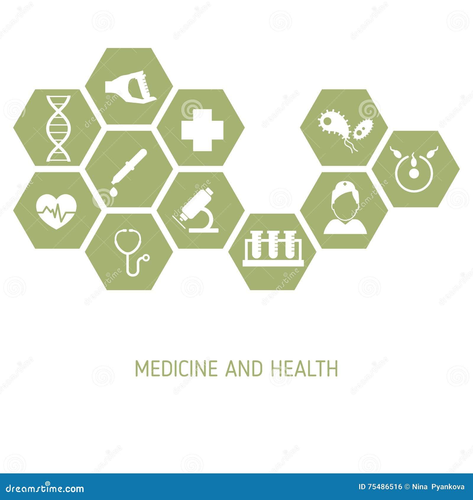 Fondo de la medicina con los iconos