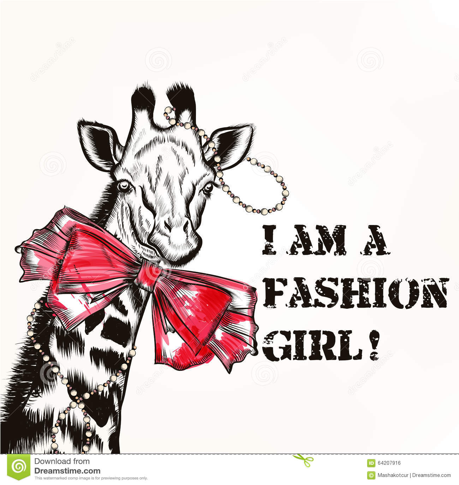Fondo de la moda con la muchacha elegante de la jirafa con tendencia rosada del arco