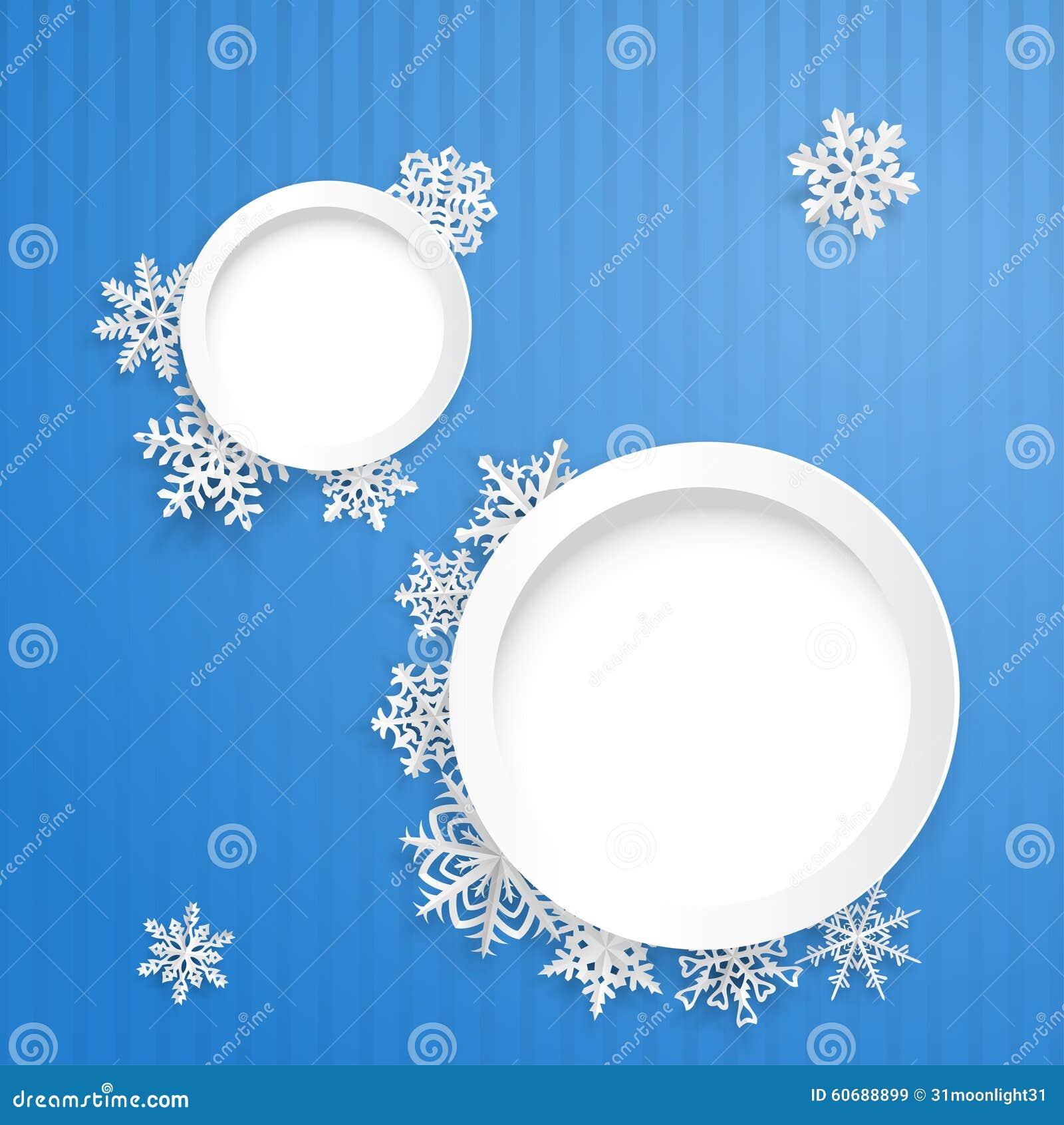 Fondo De La Navidad Con Dos Marcos Y Copos De Nieve Redondos ...