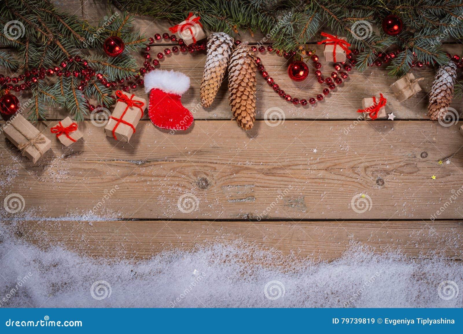 Fondo de la Navidad con las decoraciones