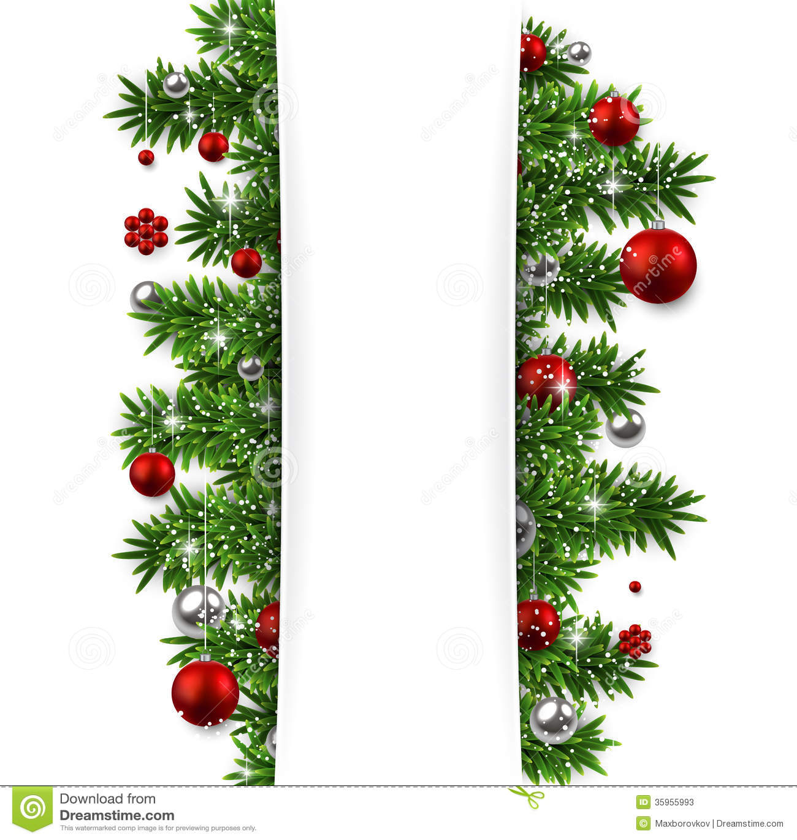 Fondo de la Navidad con las ramas y las bolas del abeto.