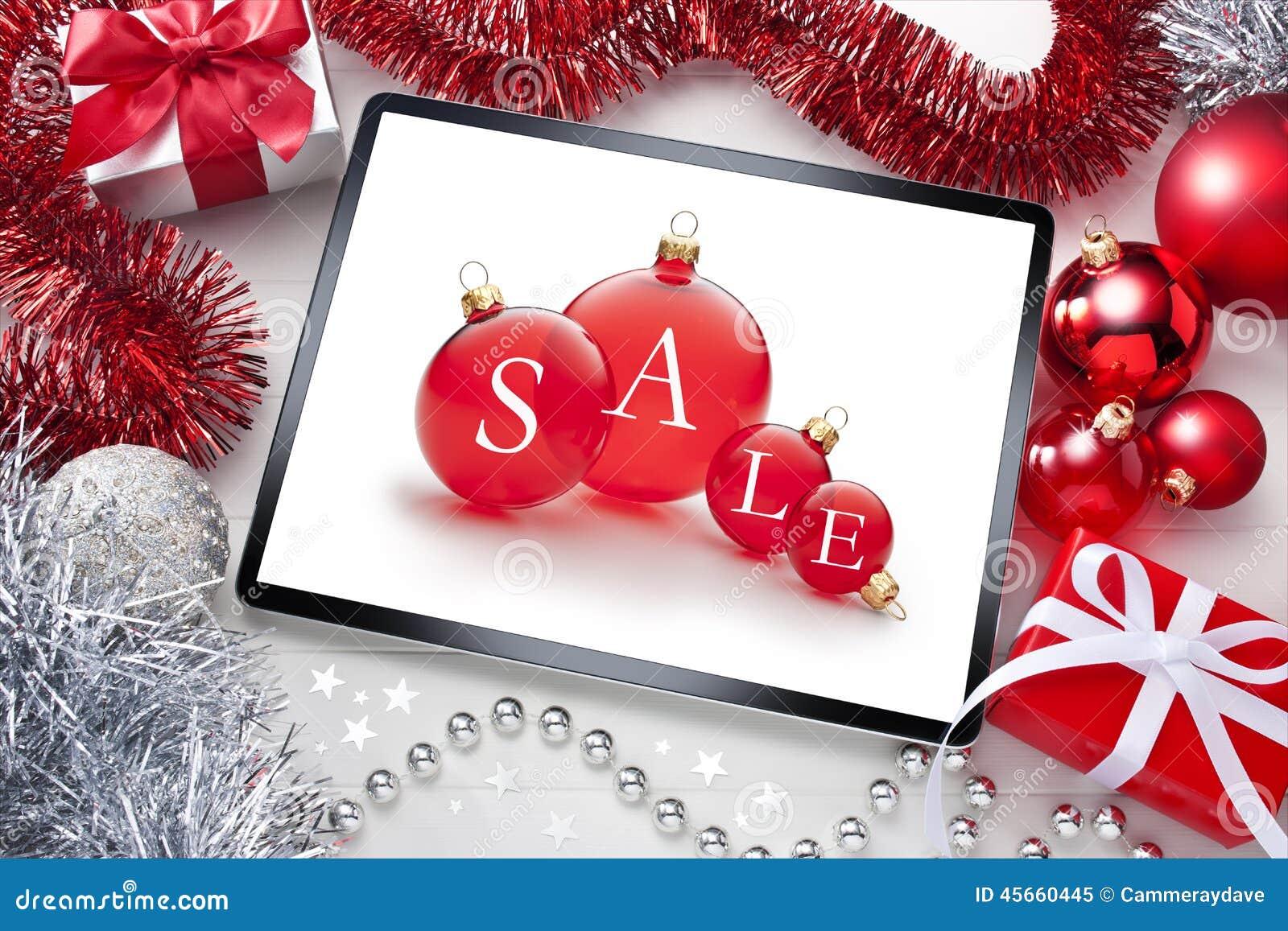 Fondo de la Navidad de la venta de la tableta