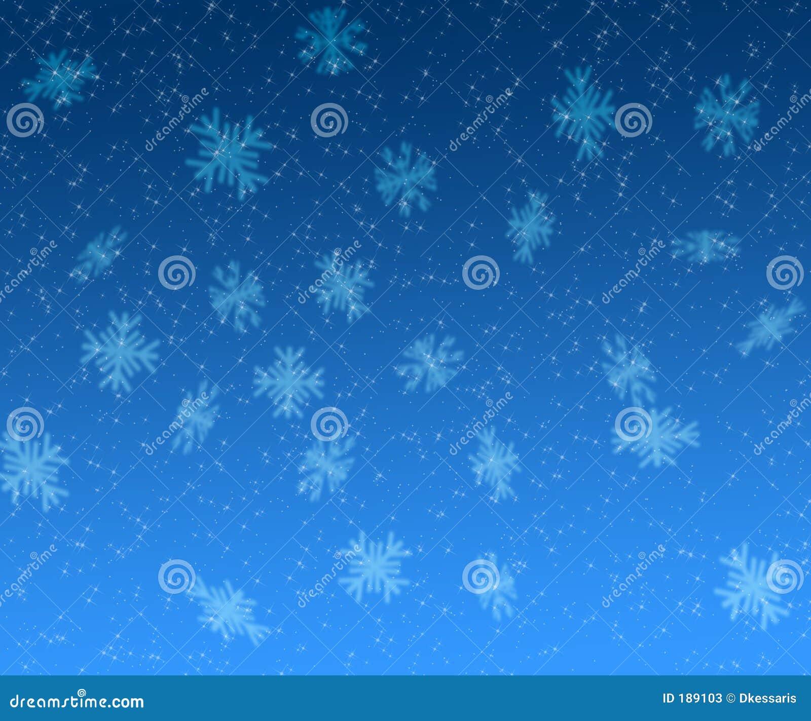 Fondo de la Navidad de las estrellas y de los copos de nieve