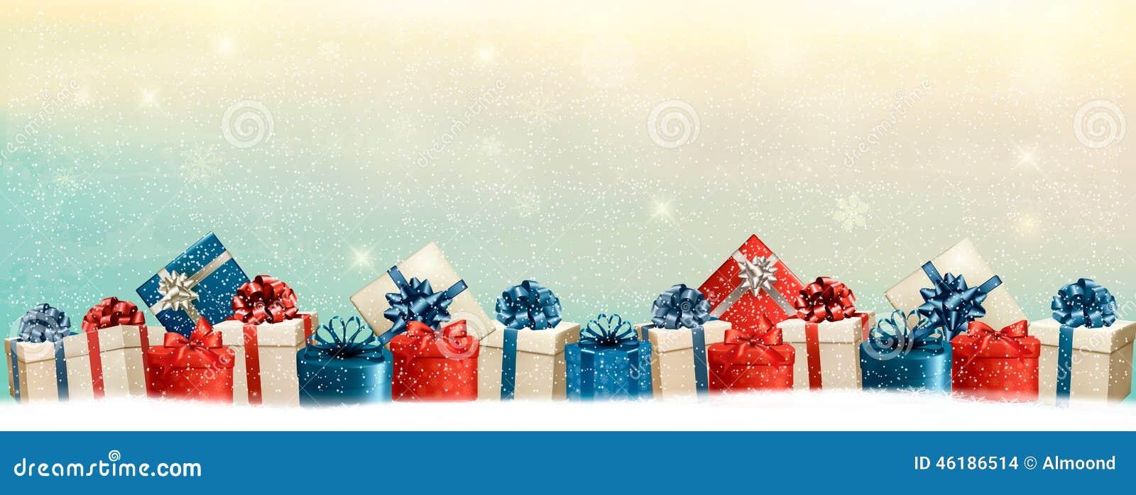 Fondo de la Navidad del día de fiesta con una frontera de las cajas de regalo