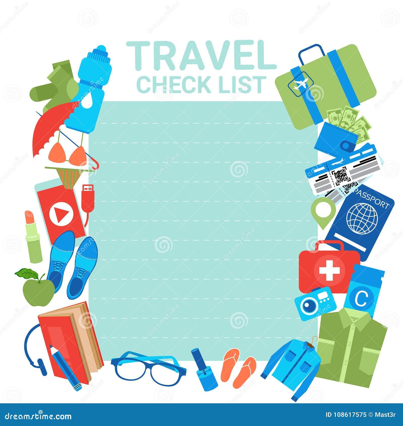 Fondo De La Plantilla De La Lista De Verificación Del Viaje Para La ...