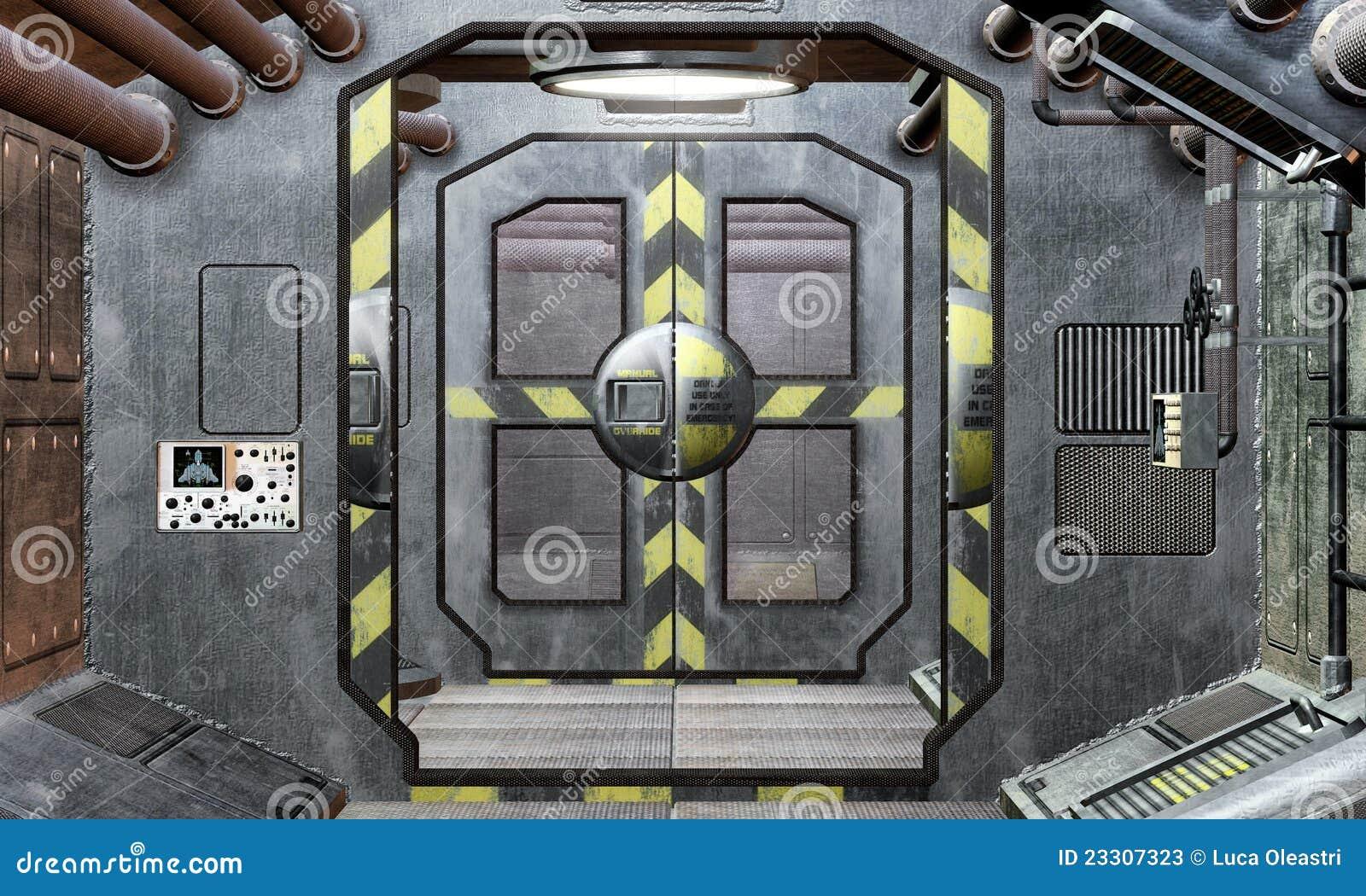 fondo de la portilla y del pasillo de la nave espacial On puerta nave espacial