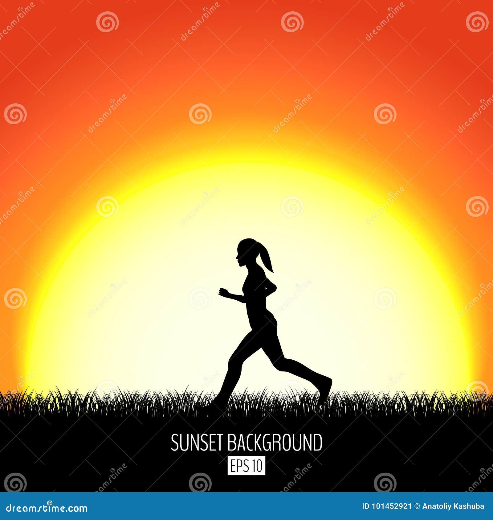 Fondo de la puesta del sol con la silueta corriente del negro de la mujer Sistemas ardientes del sol sobre el horizonte Igualació
