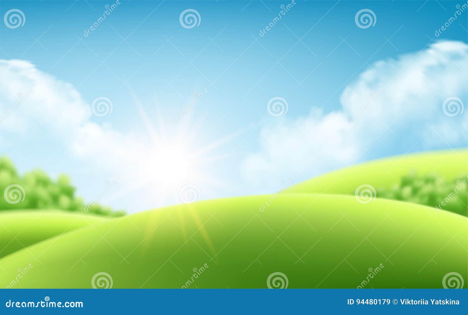 Fondo de la salida del sol de la naturaleza del verano, un paisaje con las colinas verdes y los prados, cielo azul y nubes Ilustr