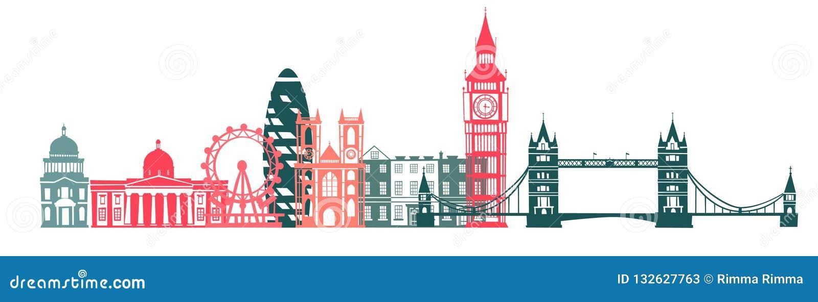 Fondo de la silueta del color del horizonte de la ciudad de Londres Ilustración del vector