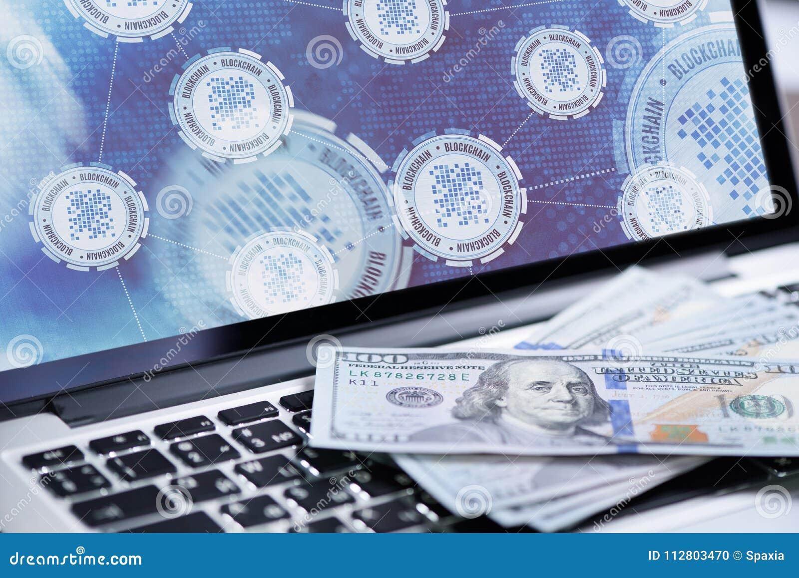 Fondo de la tecnología de Blockchain en la pantalla del ordenador portátil