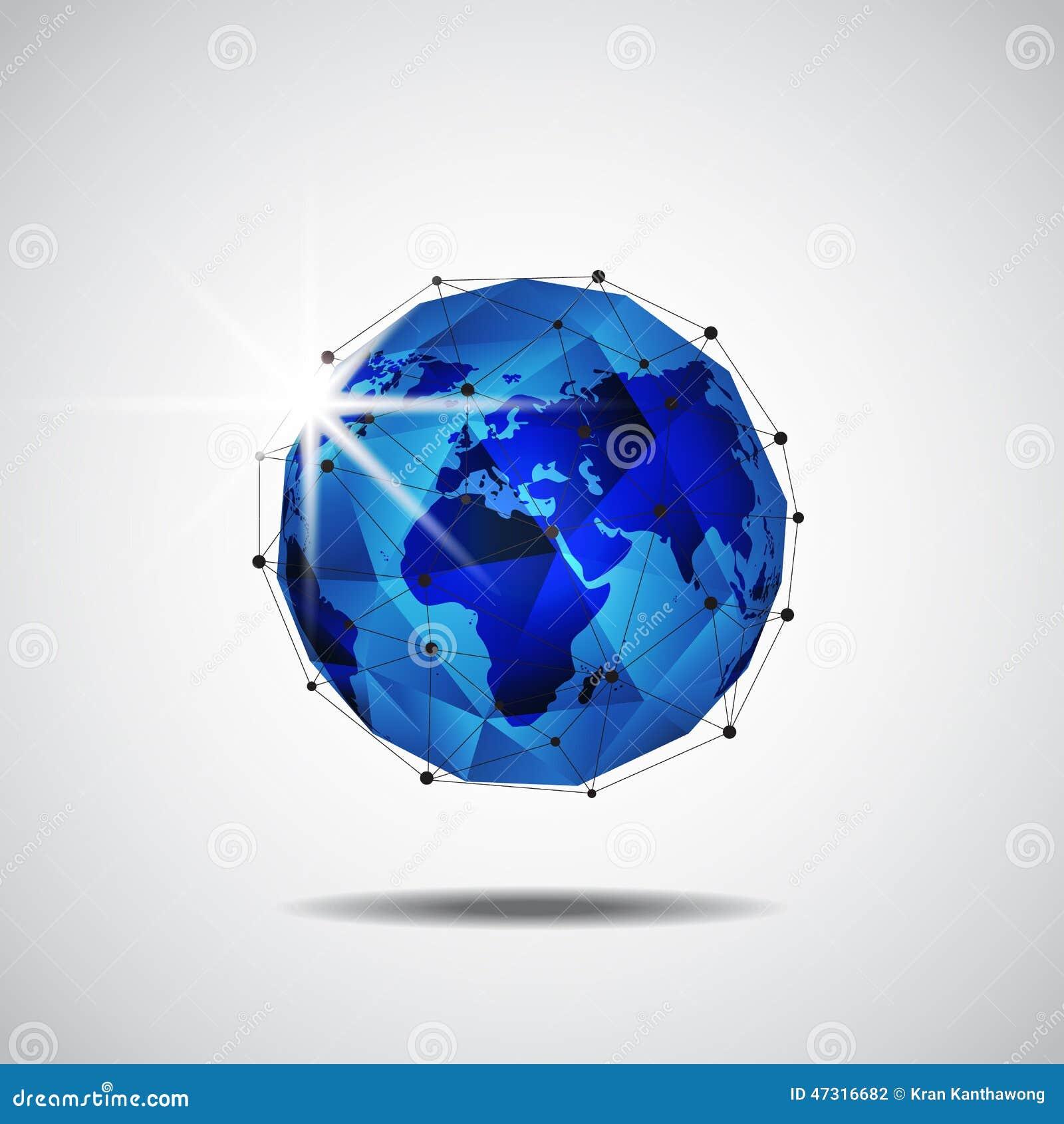 Fondo de la tecnología de red del negocio global, vector