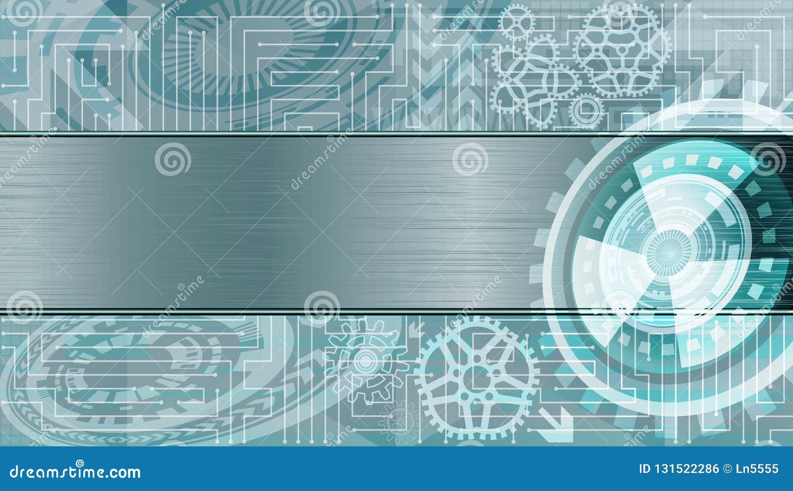 Fondo de la tecnología futurista con los engranajes y la placa metálica para el texto en sombras azules y blancas Tecnología de D