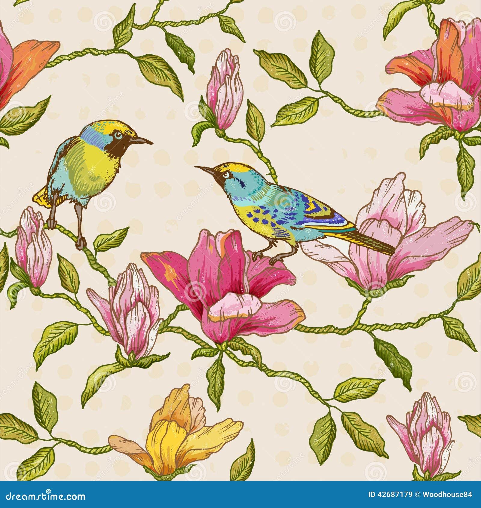 Fondo de las flores y de los pájaros