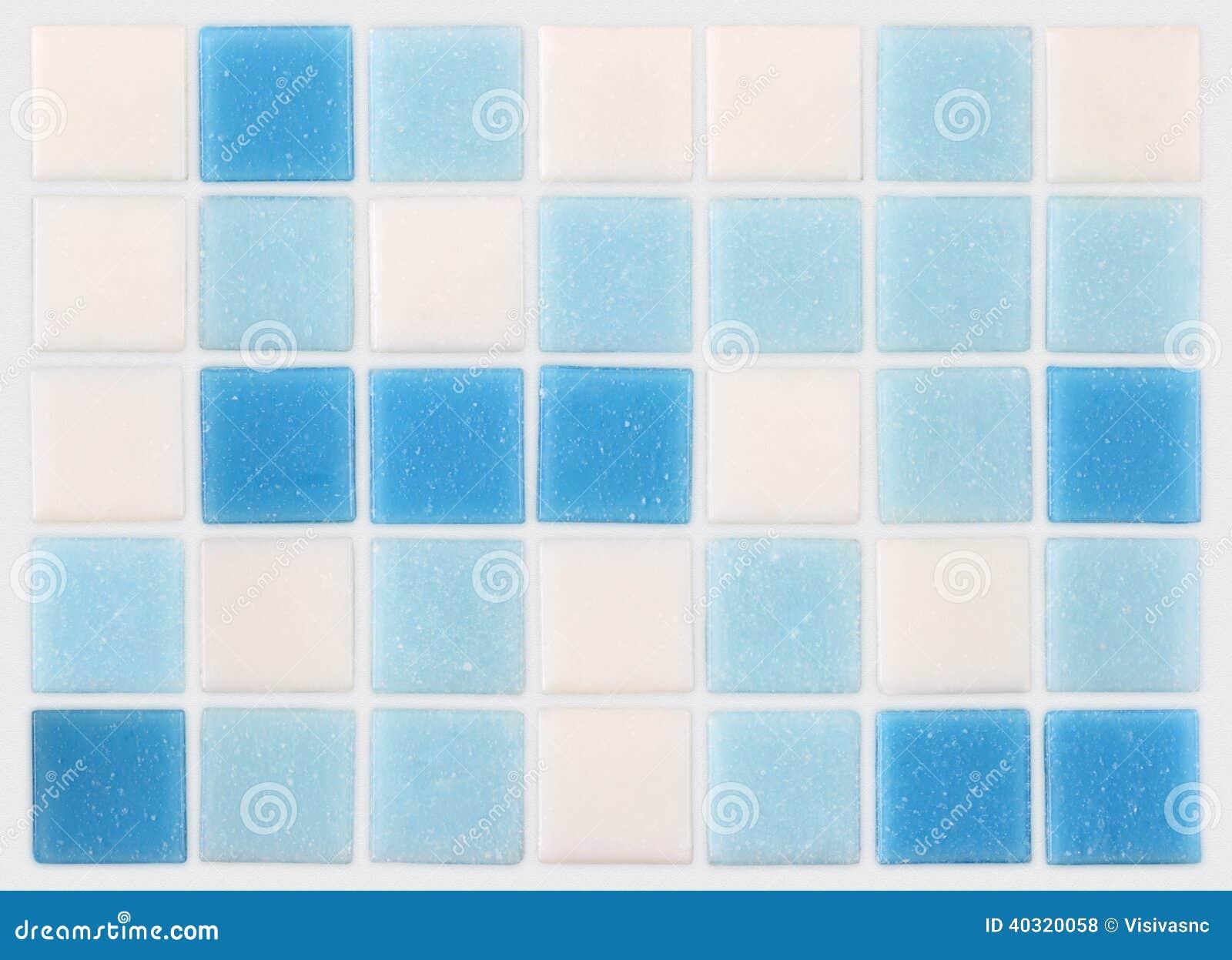 Fondo de las tejas azules y blancas del mosaico