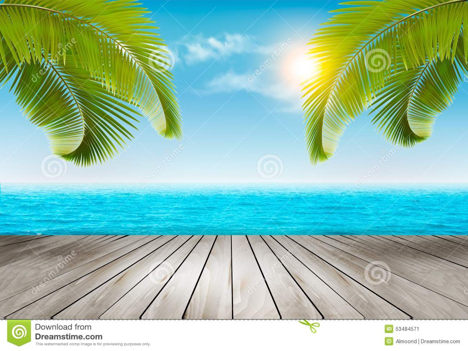 Fondo de las vacaciones Playa con las palmeras y el mar azul