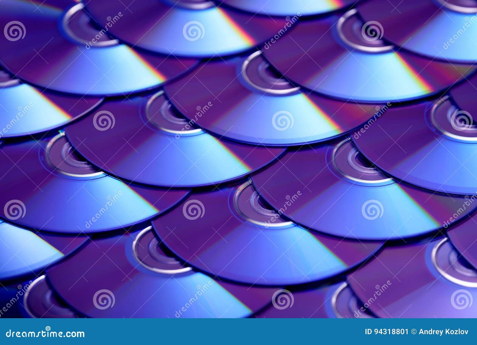 Fondo de los compact-disc Varios discos blu-ray cd del DVD Almacenamiento de datos digitales registrable o reescribible óptico