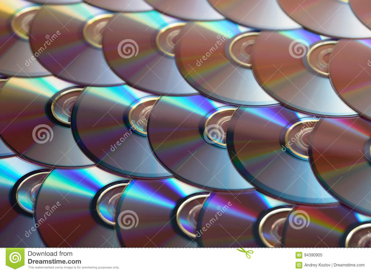 Fondo de los compact-disc Varios discos blu-ray cd del DVD Almacenamiento de datos digitales registrable o reescribible óptico