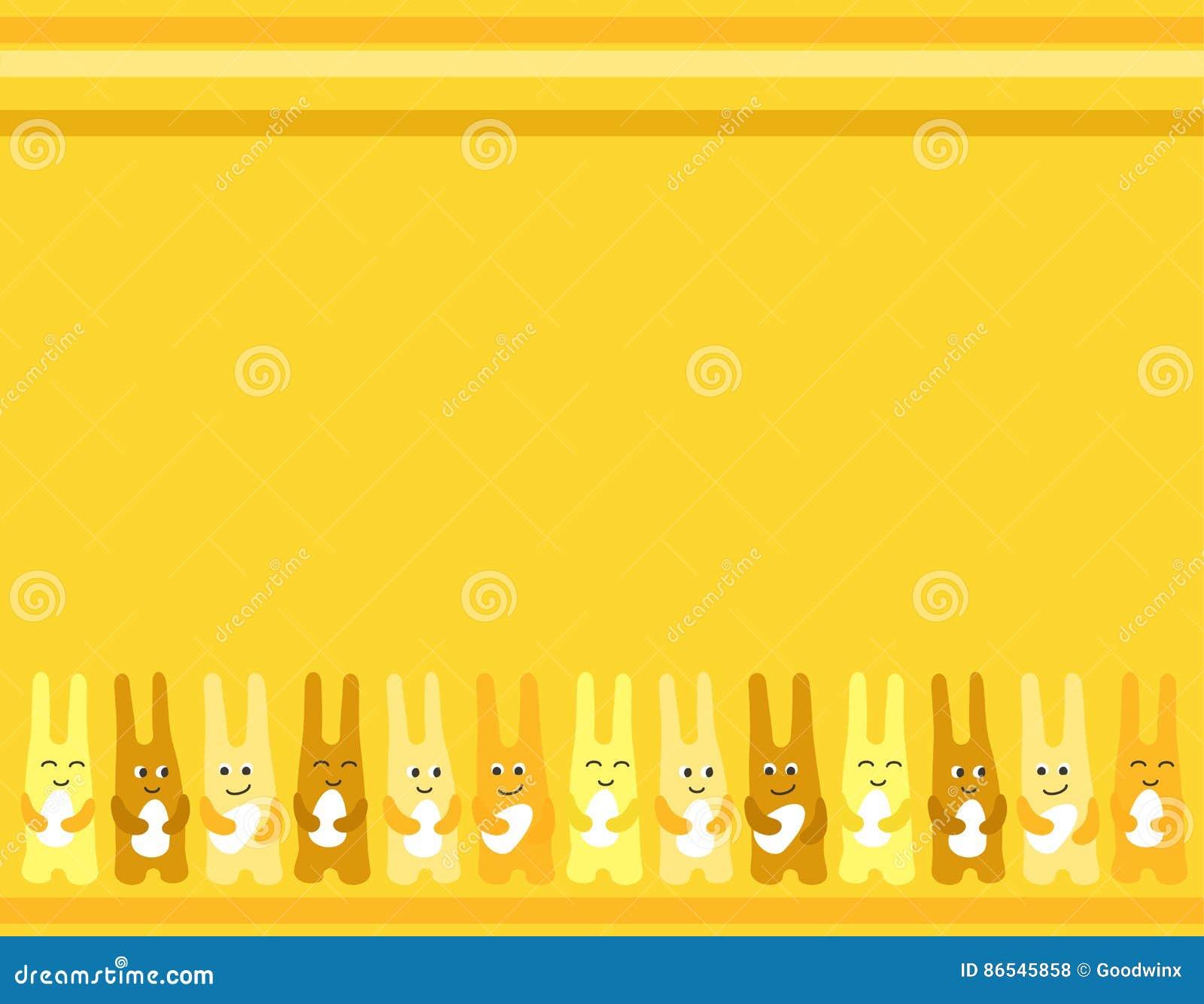 Fondo de los huevos de Pascua de la diversión tres del conejito de pascua para la tarjeta de felicitaciones
