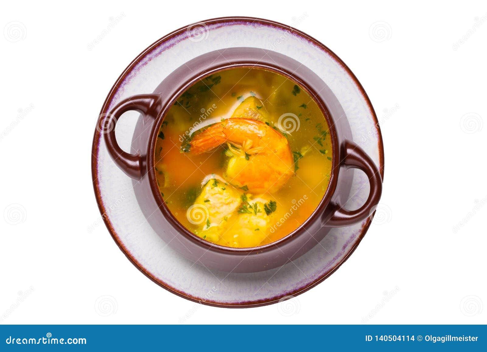 Fondo de los mariscos Macro de la sopa mediterránea recientemente cocinada de los pescados con los salmones y los camarones en un