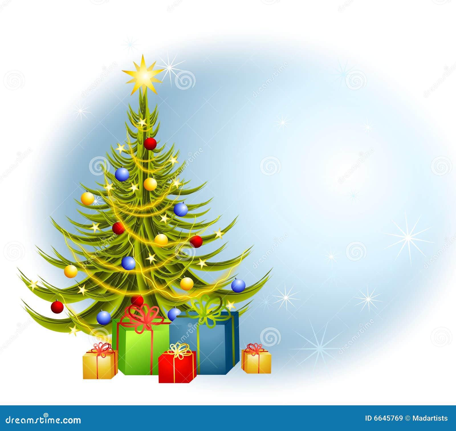 Fondo de los regalos del árbol de navidad
