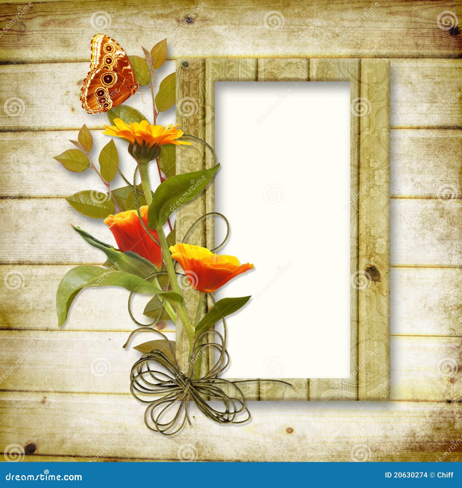 Fondo de madera con un marco para una foto y un b imagenes de archivo imagen 20630274 - Marcos de fotos madera ...
