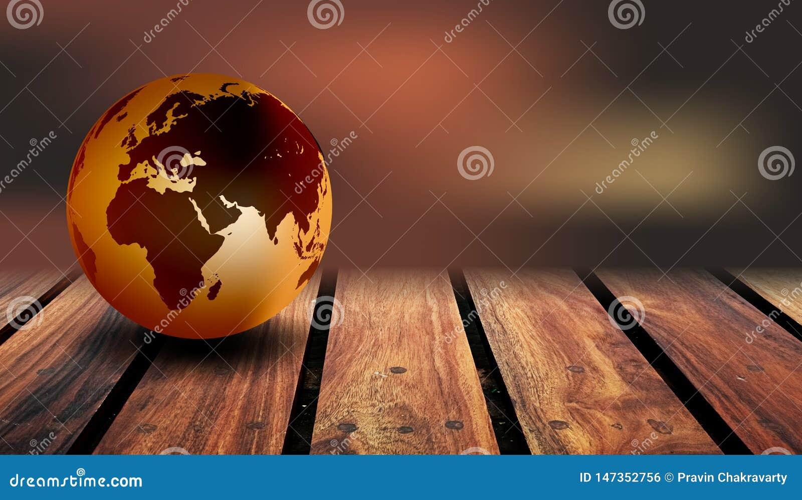 Fondo de madera del globo del mundo Un globo del mundo en un fondo de madera r?stico