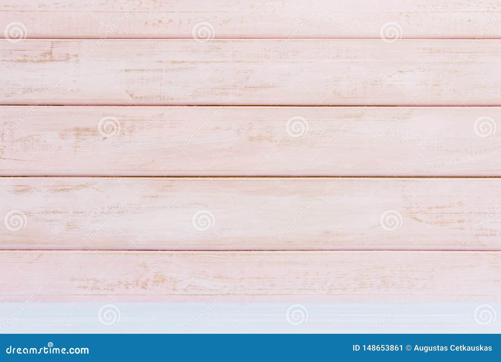 Fondo de madera en colores pastel de la pared del rosa Endecha plana