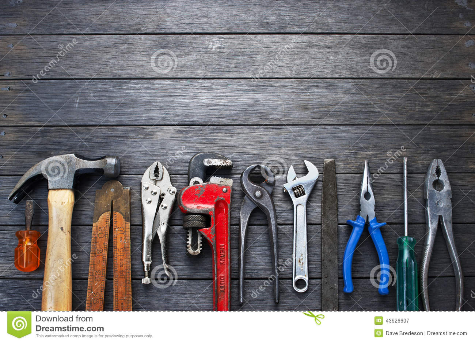 Fondo de madera rústico de las herramientas