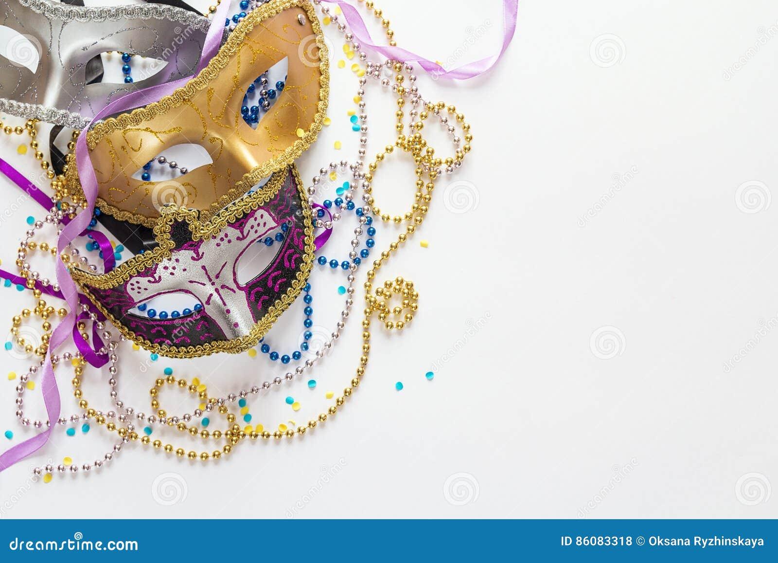 Fondo De Mardi Gras Con Las Máscaras, Las Gotas Y El Espacio De La ...
