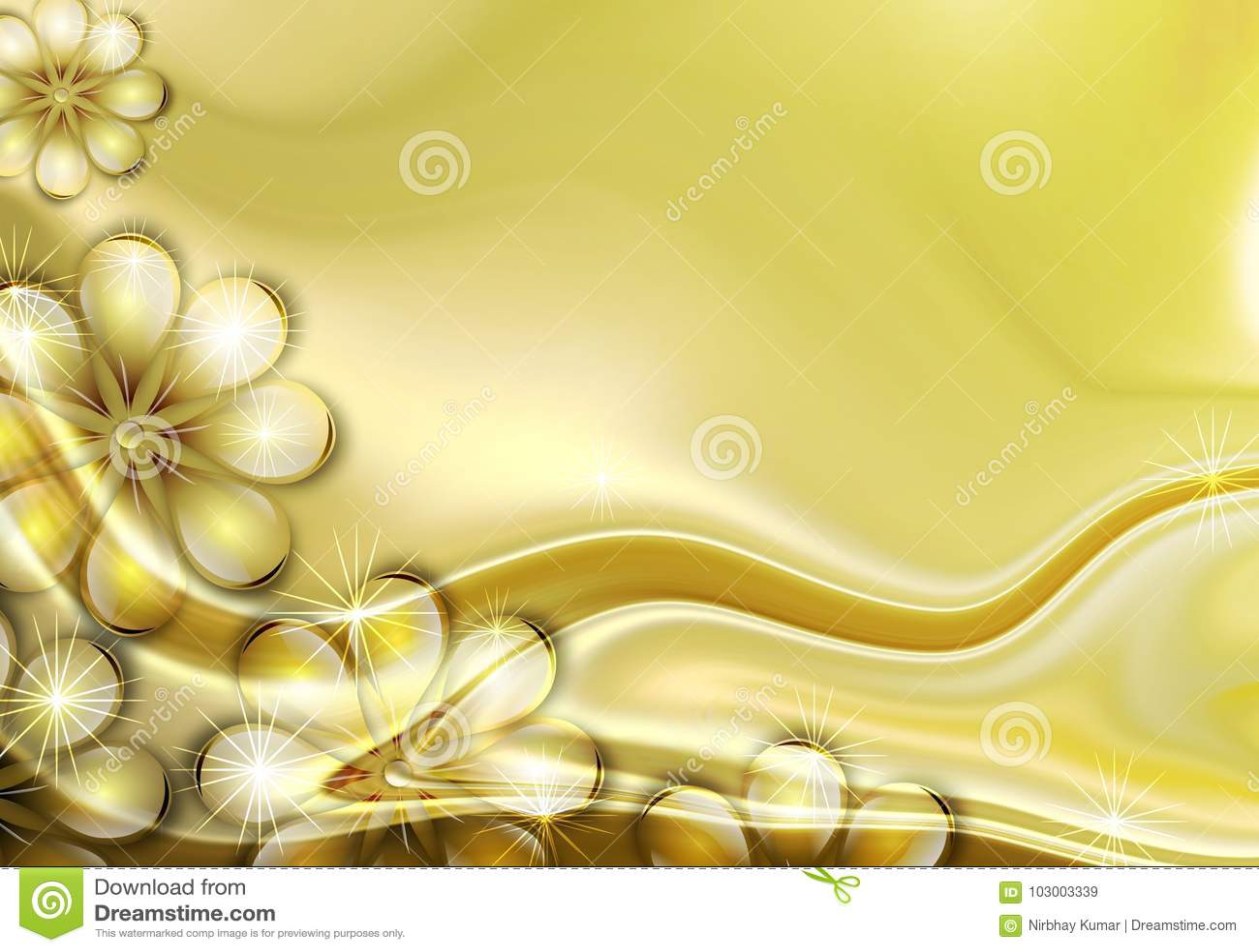 Fondo de oro de la flor